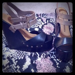 Black and Tan wedged sandals